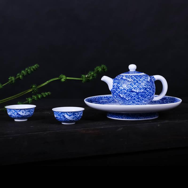 Blue And White Porcelain Teapot And Tea Cups Traditional Chinese Tea Set Wiith Hand Painted Auspicious Clouds Pattern