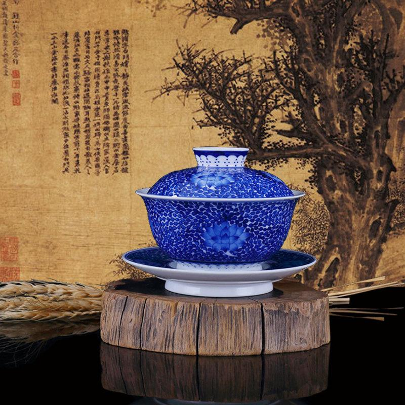 Special Offer Porcelain Tea Cup And Saucer Chinese Gaiwan With Hand Painted Traditional Chinese Realistic Painting