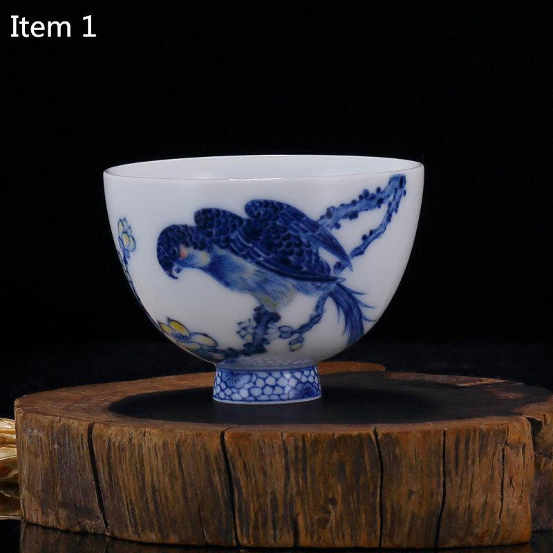 Chinese Cup For Tea China Teacup With Hand Painted Chinese Kung-Pi Birds Painting Autentic Jingdezhen Blue And White Porcelain Technique