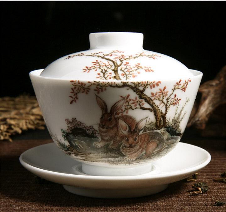Ceramic Teacup Saucer Lid Porcelain Gaiwan With Famille Rose Technique Hand Painted Double Rabbits