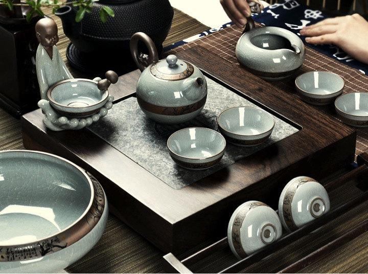 Black Stone Tea Tray Displaying And Serveing Tea Tea Tray Handicraft Chinese Congou Tea Setchinese Teaism Practice.