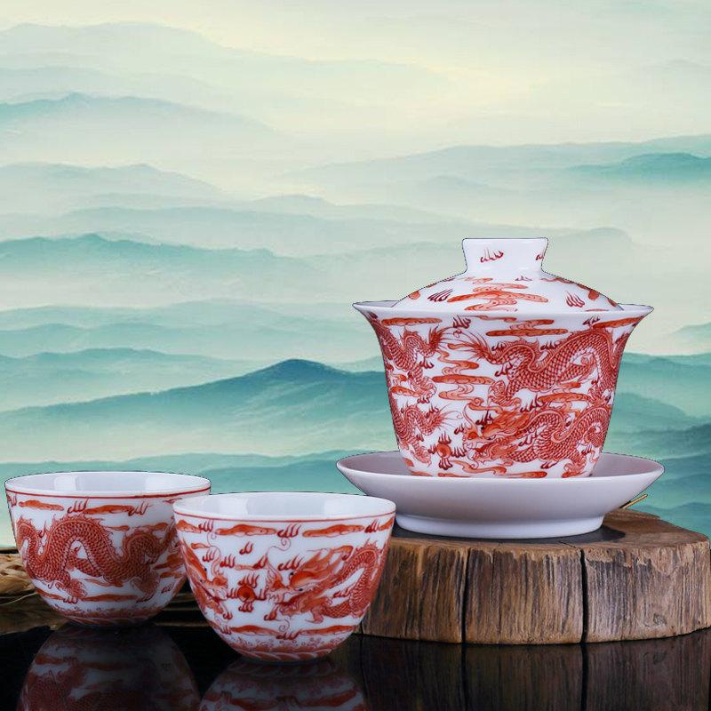 Hand Painted Dragon Tea Set Red Tea Set Ceramic Gaiwan Set Porcelain Gift For Couple Engagement