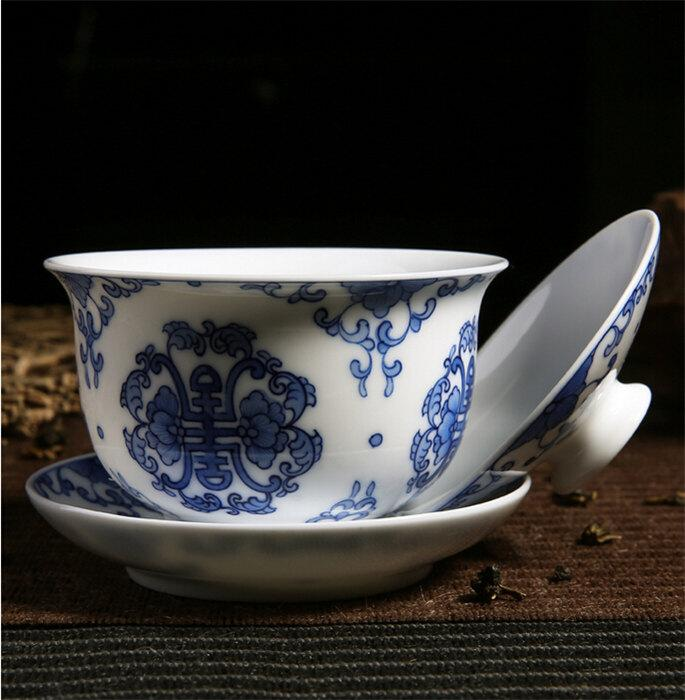Fine Birthday Gift Handcrafted Chinese Gaiwan Tea Cup With Hand Painted Decoration