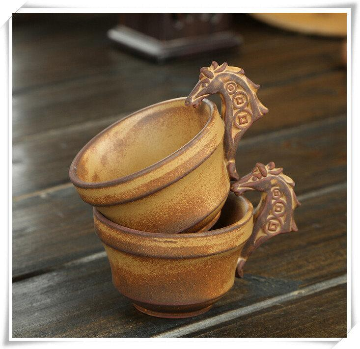 Handmade Pottery Tea Set Stoneware Teapot And Tea Cups With Horse Modeling