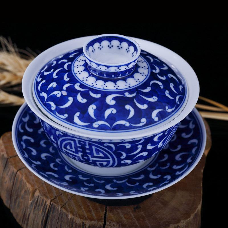 Perfect Birthday Gift Teacup And Saucer Lid Traditional Chinese Gaiwan Tea Cup With Hand Painted Tadpole Pattern And Longevity