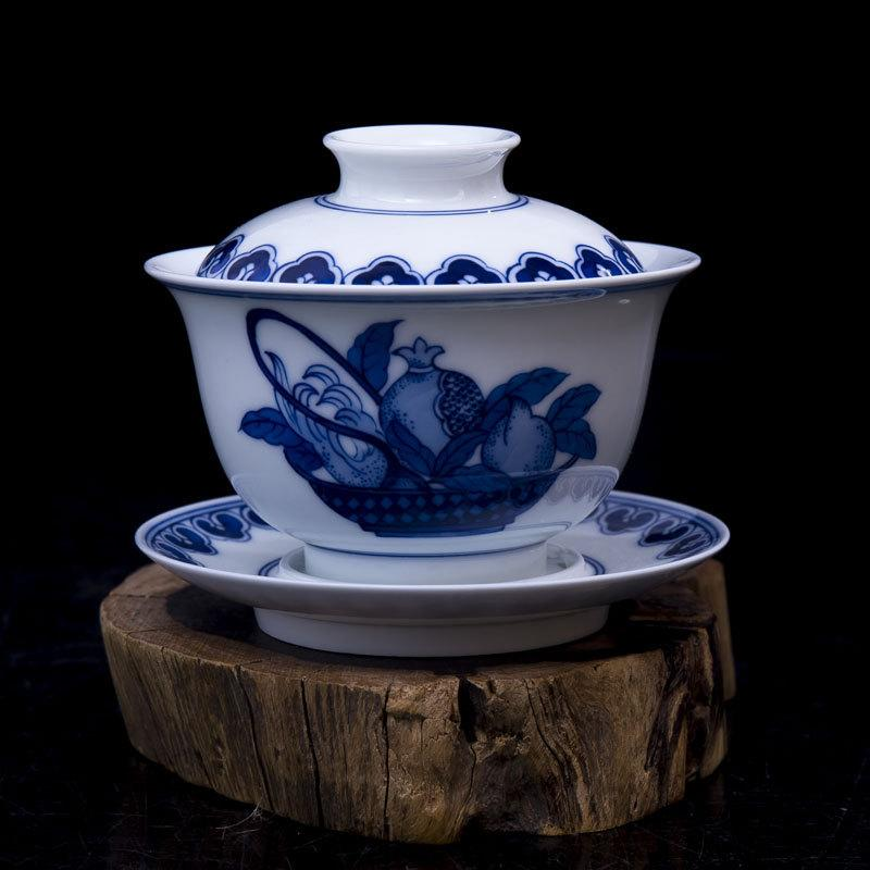 5-Piece Unique Gift Handmade Porcelain Chinese Tea Set Handpainted Blue And White Three More Picture Decoration