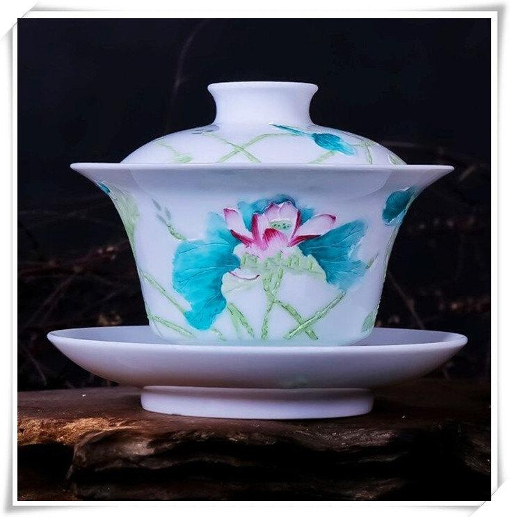China Gaiwan Cup For Tea Chinese Cup Saucer With Engraving Overglaze Lotus Flower