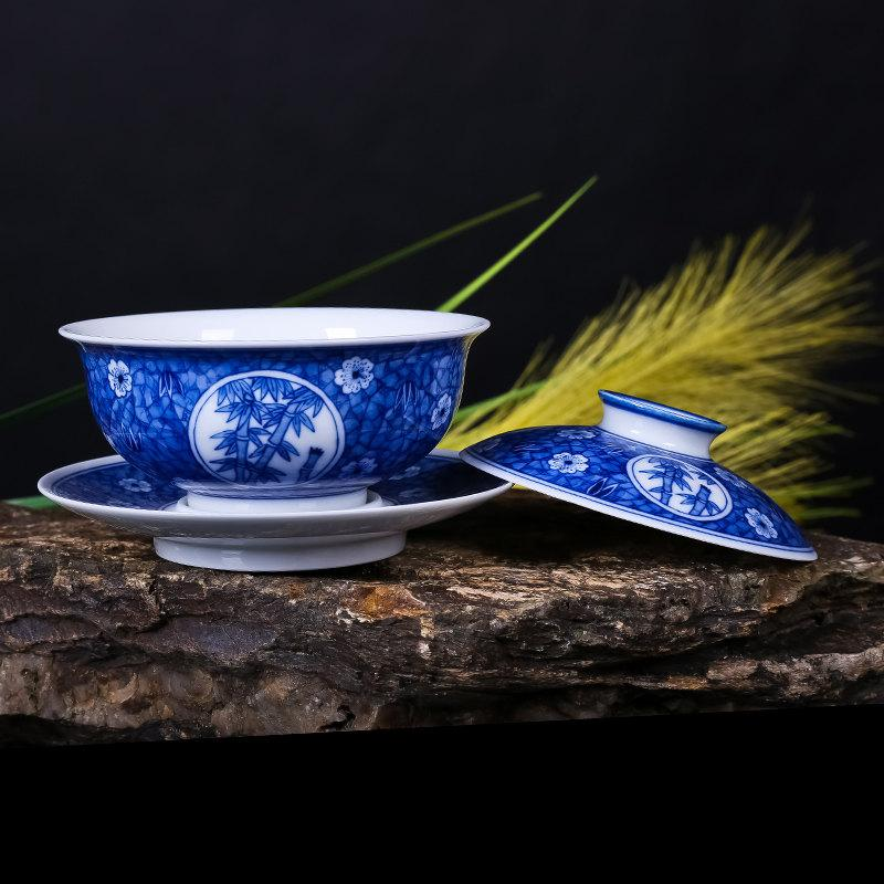 Special Offer Tea Cup And Saucer Lid China Gaiwan With Chinese Claborate-Style Heavy Colored Painting Pine Tree Bamboo Plum Blossom