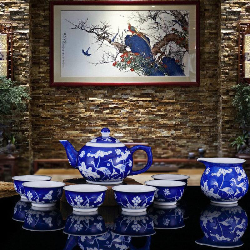 Unique Crafted Chinese Tea Set Porcelain With Hand Painted Lotus And Egrets