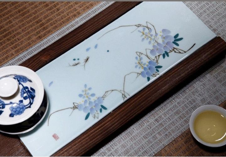 Hand-Drawing Jingdezhen Porcelain Tea Tray Tea Tray Handicraft Chinese Congou Tea Setchinese Teaism Practice.