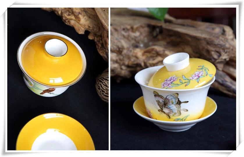 Bone China Tea Cup And Saucer Chinese Porcelain Gaiwan Ceramic Tea Cup With Lid