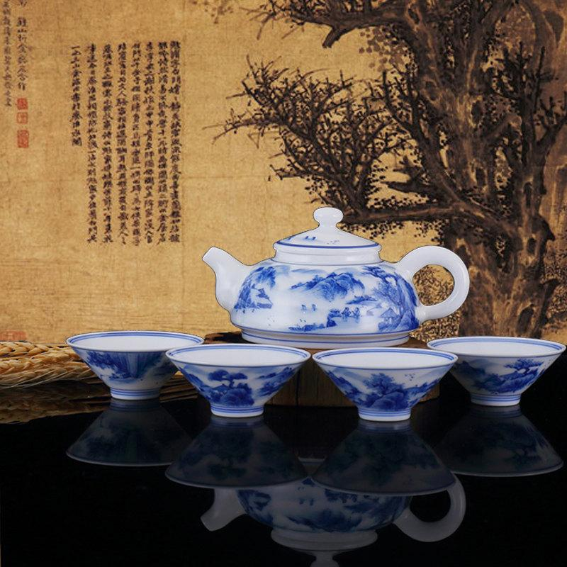 Hand Painted Chinese Tea Set Blue White Tea Ceramic Set Tea Porcelain Set