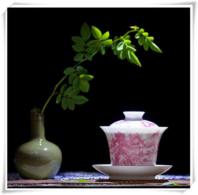 Ceramic Cup And Saucer China Gaiwan Tea Party Gift For Friend
