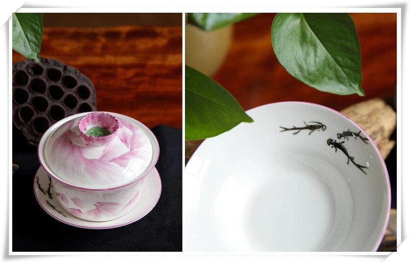 Bone China Teacup Chinese Wedding Gaiwan In-Glaze Decoration Tea Cup And Saucer