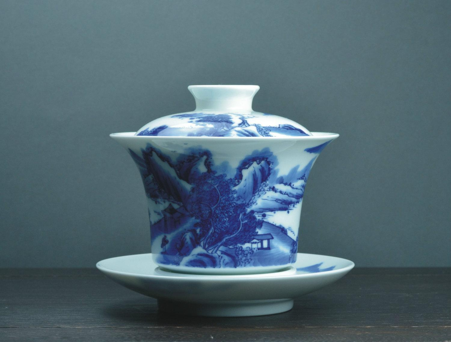 Hand-Painting And Handmade Blue And White Porcelain Imperial Style Gaiwanchinese Style Ceramic Teaware