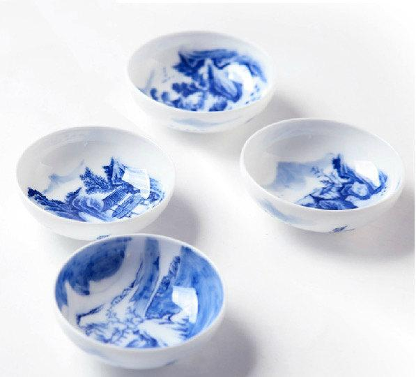 4 Hand-Painting Flowers Pattern Blue And White Ceramic Tea Cupchinese Blue And White Porcelain Tea Setchinese Style Ceramic Teaware