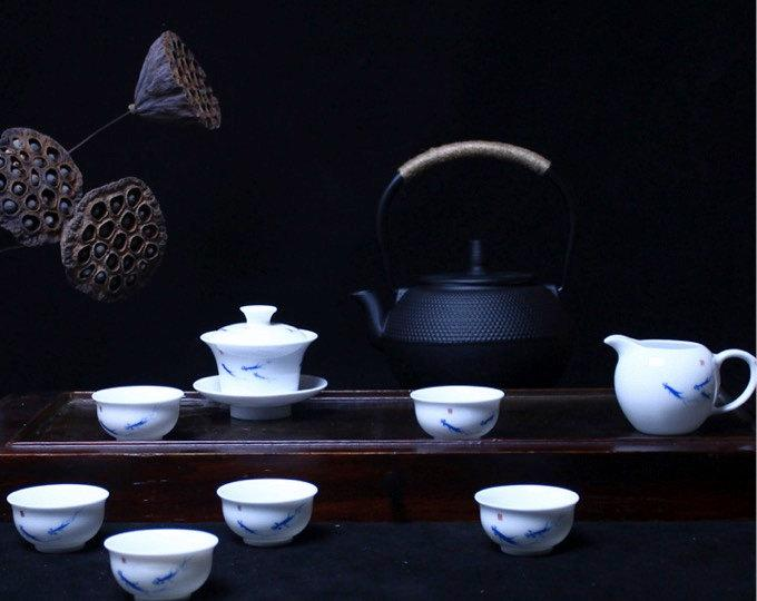 A Complete Set Of Hand-Painting And Handmade Blue And White Porcelain Imperial Style Tea Setschinese Style Ceramic Teaware
