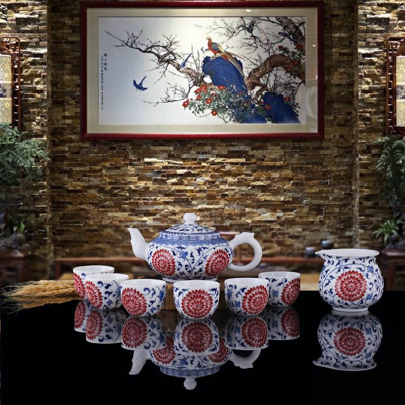 Chinese Ceramic Tea Set Handpainted Gong Fu Tea Set Porcelain Tea Service Ceramics