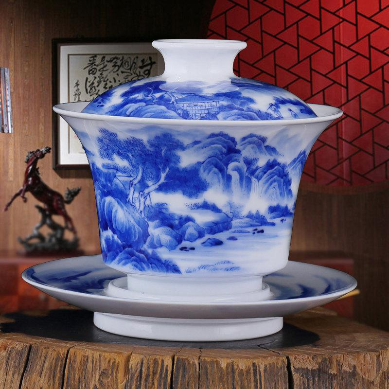 Special Offer China Cup Saucer Lid Chinese Gaiwan Teacup With Hand Painted Chinese Kung-Pi Heavy Colored Painting Landscape