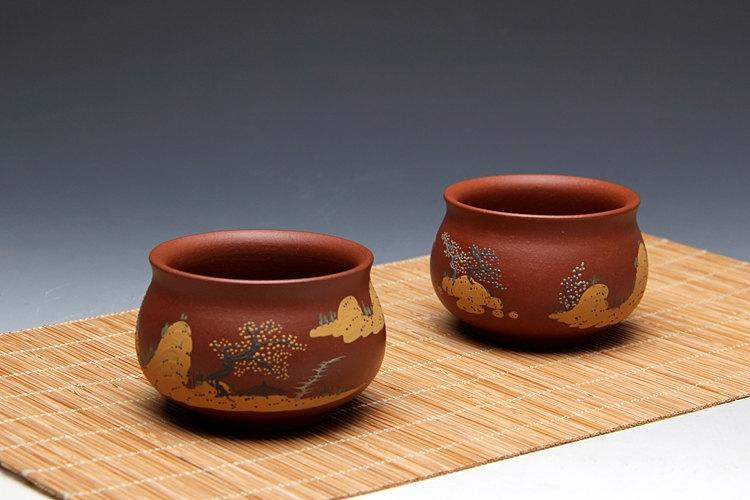 2 Hand-Made Zisha Clay Tea Cup Yixing Pottery Handmade Zisha Clay Teapotguaranteed 100%Genuine Original Mineral Fired