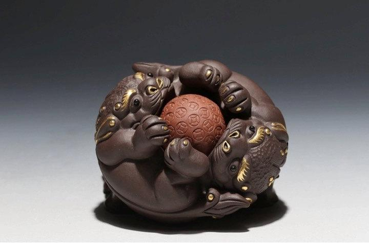 Glod Toad;Chinese Gongfu Tea Set Yixing Pottery Handmade Zisha Tea Setguaranteed 100%Genuine Original Mineral Fired