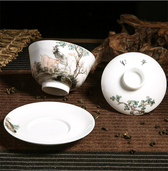 Handmade Porcelain Teacup And Saucer Lid Traditional Chinese Gaiwan With Famille Rose Handmade Three Goats