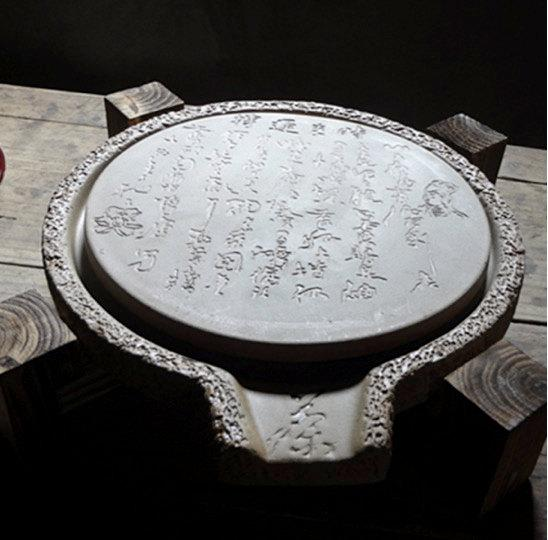 Crude Pottery Tea Tray Displaying And Serveing Tea Tea Tray Handicraft Chinese Kung-Fu Tea Setchinese Teaism Practice.