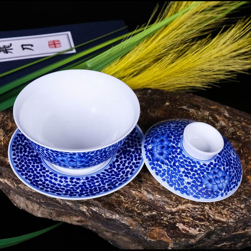 4-Piece Fine Art And Craft Ceramic Chinese Tea Set Blue And White Porcelain Hand Painted Multi Leaves And Lotus Flowers