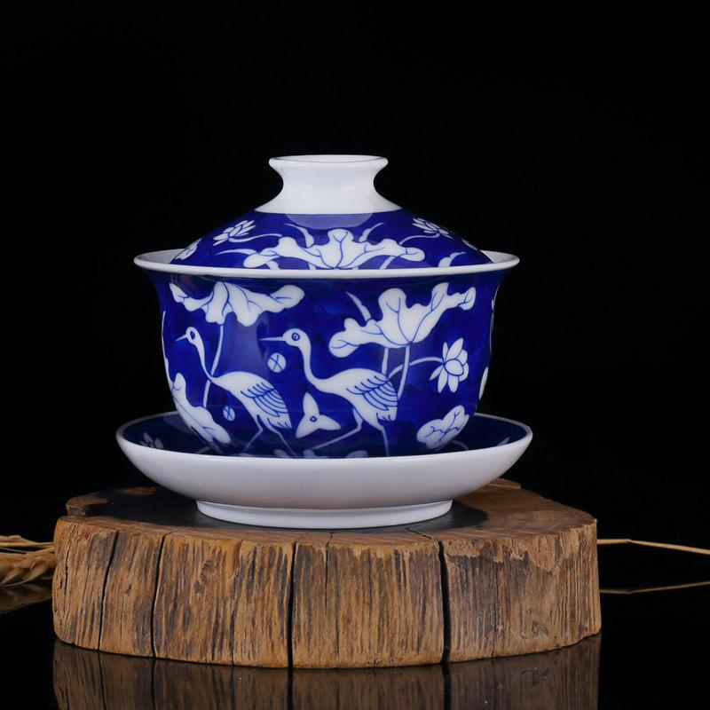 Unique Crafted Ceramic Gaiwan Tea Cup Saucer Lid With Hand Painted Lotus And Egrets