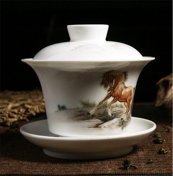 Porcelain Cup With Lid Saucer Promotion Gift Chinese Gaiwan With Famille Rose Technique Hand Painted Horse