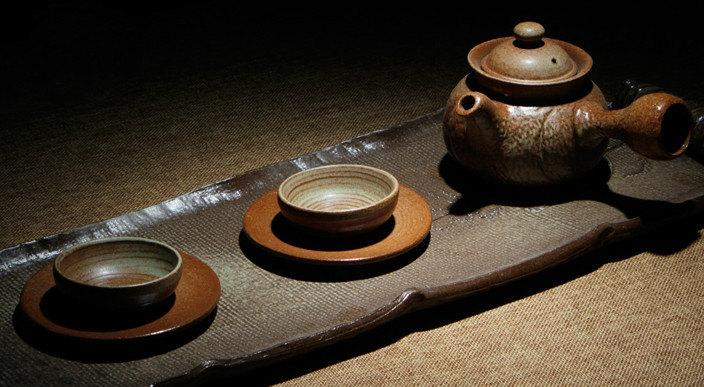 A Complete Set Of Handmade Crude Ceramic Tea Wares Handmade And Hand-Drawing Rude Ceramic Tea Setbrewing Pu-Erh Tea Tea Ware
