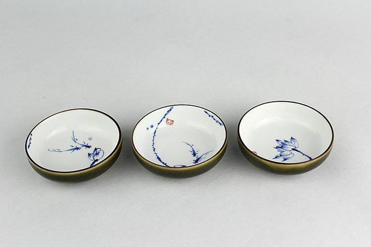 6 Hand-Painting Flowers Pattern Blue And White Ceramic Tea Cupchinese Blue And White Porcelain Tea Setchinese Style Ceramic Teaware
