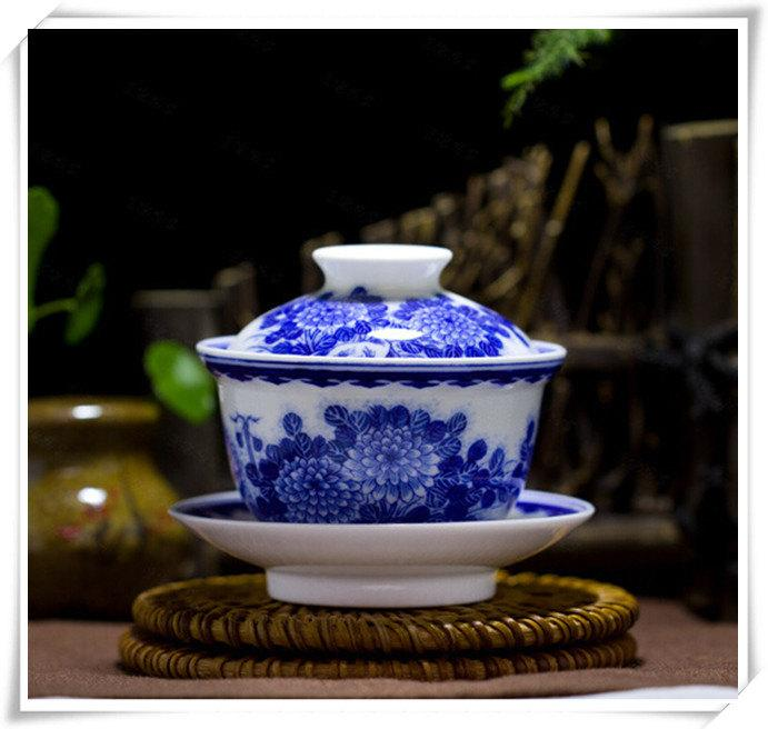 Porcelain Covered Tea Bowl Chinese Ceramic Gaiwan China Tea Cup With Lid